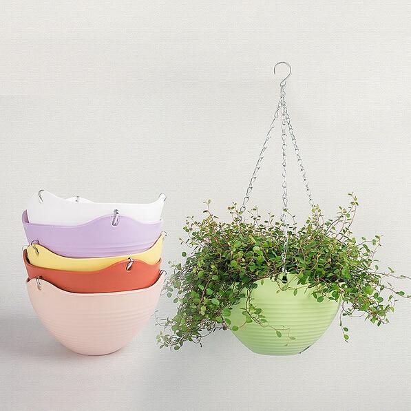 2pc 9 color 20 13cm plain color round plastic hanging for Colorful hanging planters