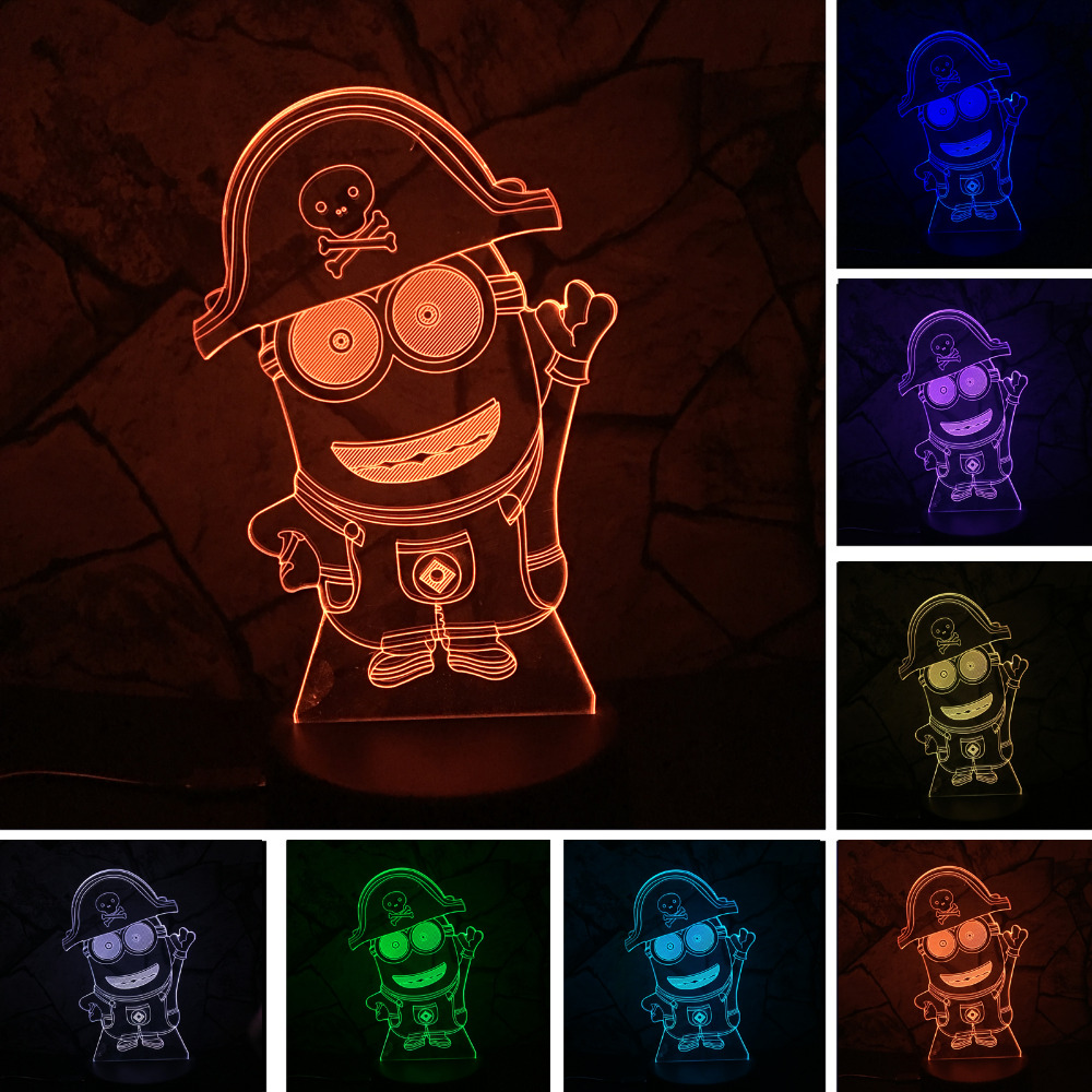 2018 Cartoon Anime Minions RGB Night Light 7 Color Gradient Child Bedroom Sleeppng Led Table Lamps USB Touch Beside Home Decor