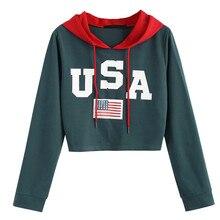 De moda escribo una carta sudaderas con capucha suéter mujer otoño invierno  con capucha de Sudadera con capucha bandera american. 711197613e9