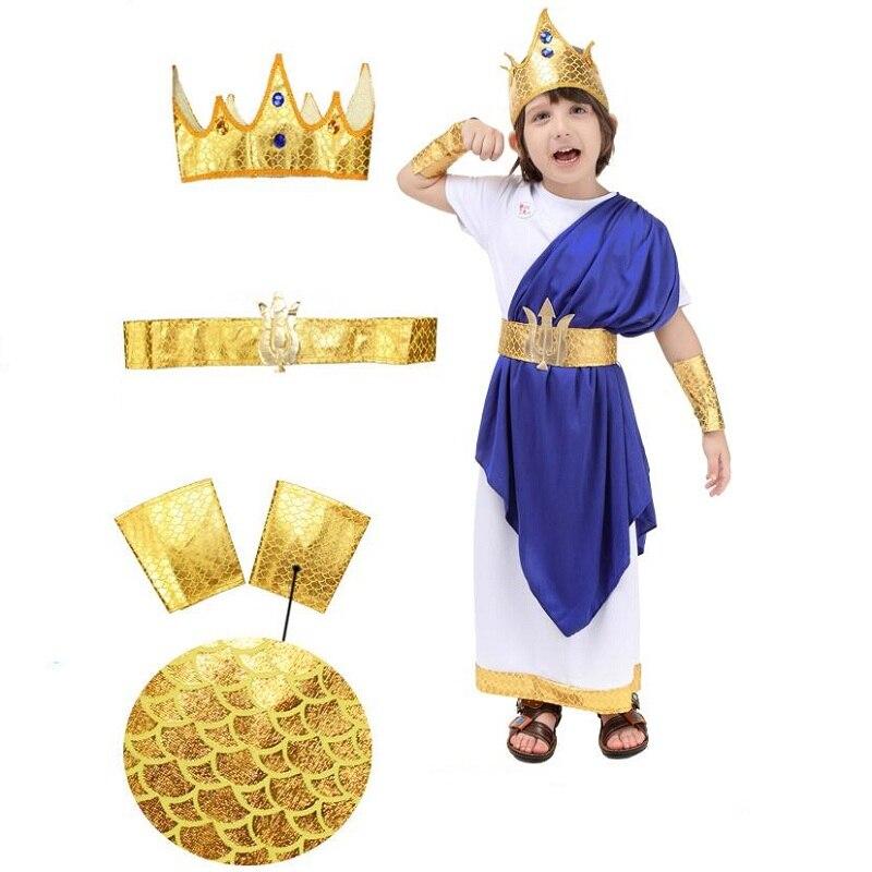 Costume romain ancien pour la fête des enfants Halloween Cosplay Party grec Neptune jeu de rôle - 6