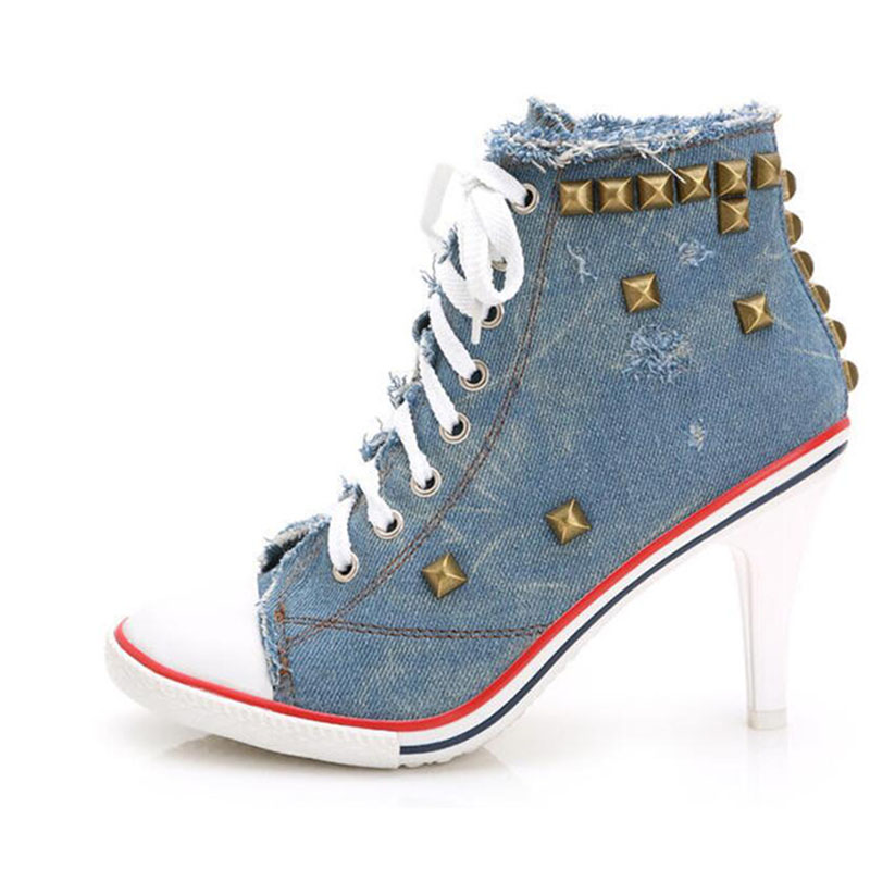 Before the spring and autumn period and the personality cowboy heels rivet with canvas shoes fashion sexy women's shoes crazy for the cowboy