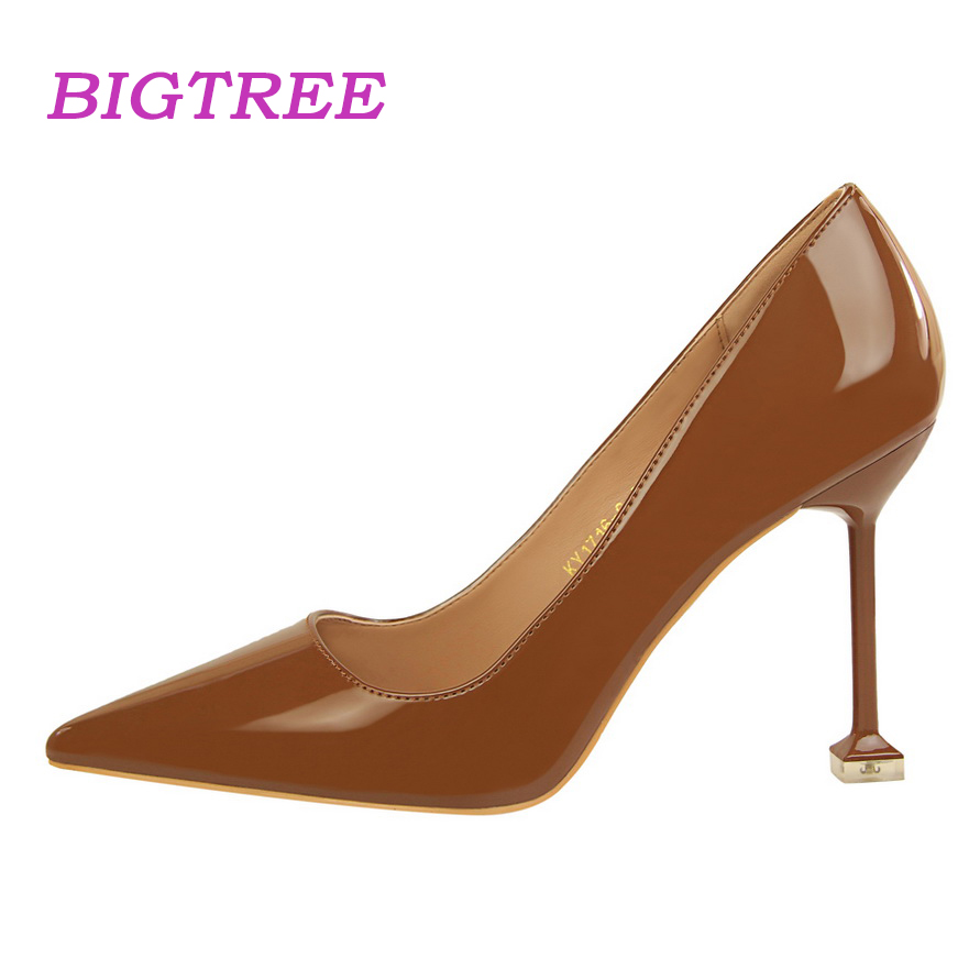 2e0e7d8b9d BIGTREE Brand 2018 Luxury Ladies Office Pumps Scarpin Women Designer Pink  Black Heels Classic High Heel Evening Valentine Shoes
