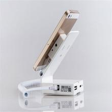 (10 шт./партия) белого цвета из металла материал под углом 45 градусов дисплей защита от кражи безопасности и зарядное устройство для смартфонов