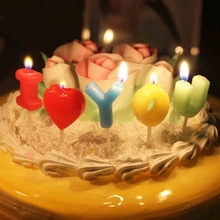 1 Set I Love You Letter Happy Birthday Candles Novelty Anniversary Wedding Romantic Toothpick Cake