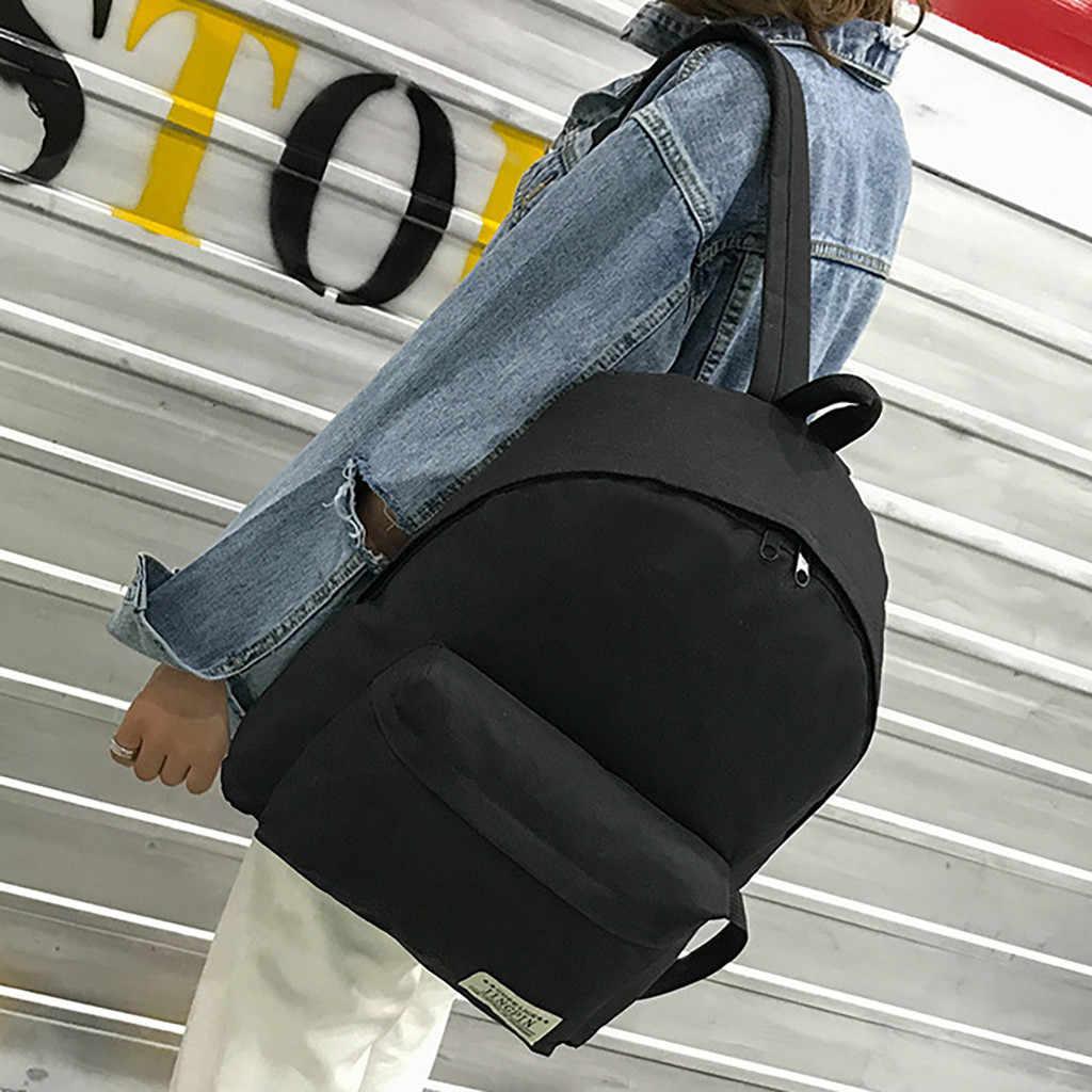 Dcimor Tahan Air Kanvas Kembali Pack dengan Vertikal Zipper Wanita Ransel Wanita Sekolah untuk Gadis Remaja Mochilas Perjalanan Tas