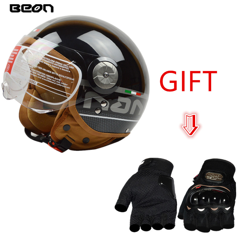 BEON Open Face Vintage Motorcycle Helmet Motorbike Jet Retro Scooter Helmet ECE Certification With Clear Goggles +Free Gloves