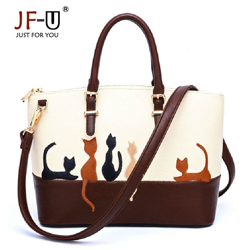 ФОТО JF-U Printing Women Bags Handbags Pu Leather Luxury Flower Lady's Shoulder Bags Women Handbag Sac A Main Bolso Brand Cute Animal