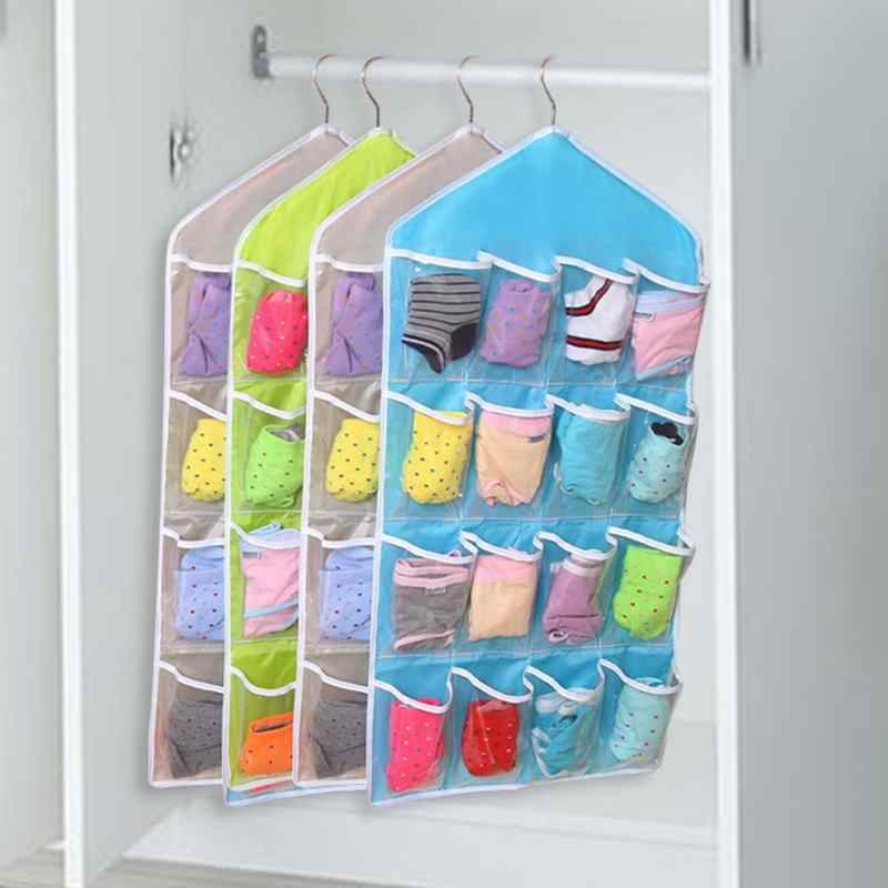 16 Pockets Clear Hanging Bag Organizer Socks Bra Underwear Rack Multilayer Wall Mount Hanger Organizer Storage Bag