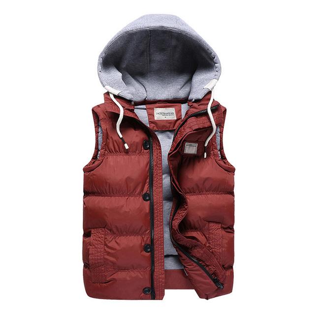 2016 Superior Tamaño FashionLarge Hombre Invierno Cálido Chaleco de Algodón Con Capucha Boy Chaqueta Chaleco 5 Color Rojo Negro Outwear Abrigos M-5XL DW210