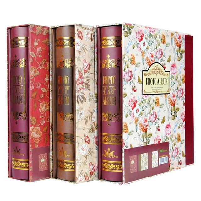 6 polegada 200 inserir caixa de armazenamento retro flor álbum álbum álbum álbuns de família memórias coleção do casamento livro de registro de crescimento do bebê
