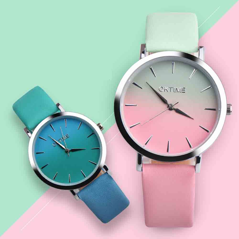 Classy Classic Round Ladies Women Crystals Watch Retro Rainbow Design Leather Band Analog Alloy Quartz Wrist Watch High Quality