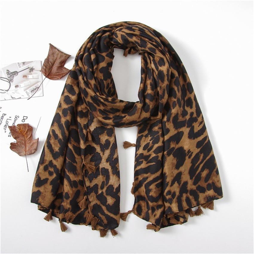 Fashion Spain Luxury Brand Leopard Cotton Shawl   Scarf   Spring Winter Long Wild Lady Viscose   Scarves     Wrap   Pashmina Hijab Sjaal