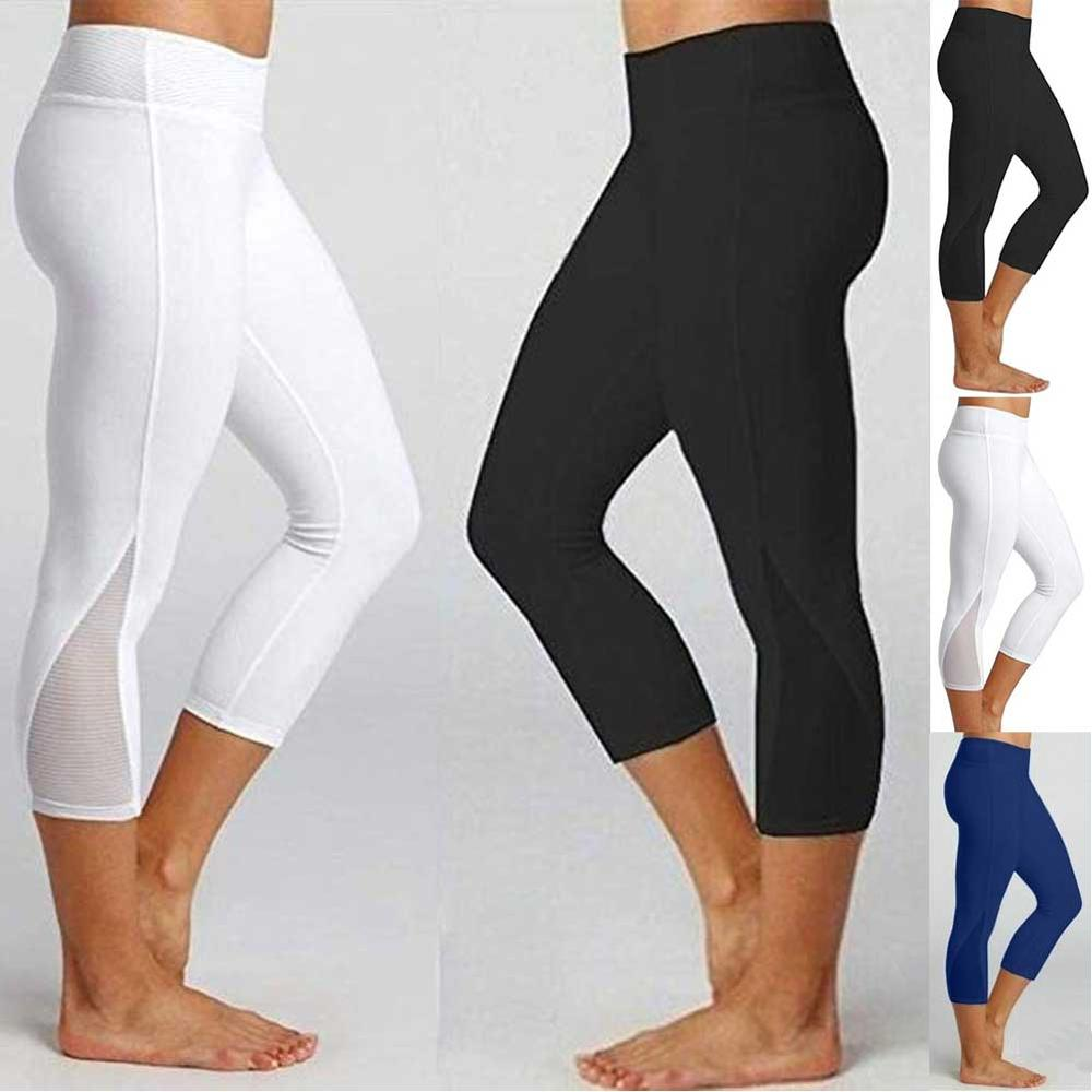 JGS1996 3/4 Yoga Pants women Calf-length Pants Capri Pant Sport leggings Women Fitness Yoga Gym High Waist Legging Girl Black