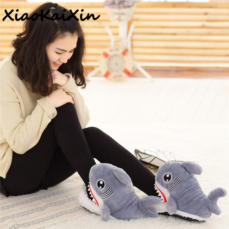 Cute Cosplay Animal Funny Fish Shoes For Men&Women Warm PP Cotton Plush Home&House Indoor Shark Shape Furry Slippers Shallows 2017 totoro plush slippers with leaf pantoufle femme women shoes woman house animal warm big animal woman funny adult slippers page 8