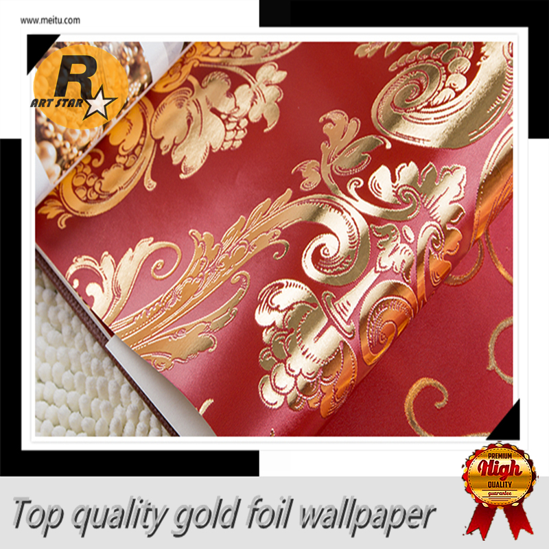 Free shipping Damascus and stripe Pattern golden and red color wallpaper  for wedding living room bedroom. Popular Red Gold Wallpaper Buy Cheap Red Gold Wallpaper lots from