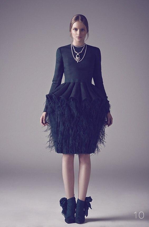Ostrich Feather Dress Black Long Sleeve Prom Dresses Short ...