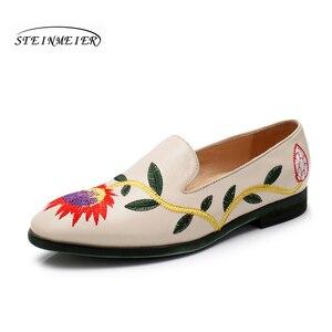 Image 4 - Yinzo femmes chaussures plates Oxford chaussures femme en cuir véritable slip on dames richelieu Vintage chaussures décontractées chaussures pour femmes 2020