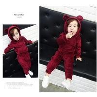 NEAT 2017 Children Clothing Baby Boys Girls Set Hooded Sweater Autumn Winter New Gold Velvet Bear