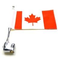 New Chrome Motorcycle Rear Side Mount Canada Flag Pole Flag For Honda GoldWing GL1800 2001 2011 Luggage Rack