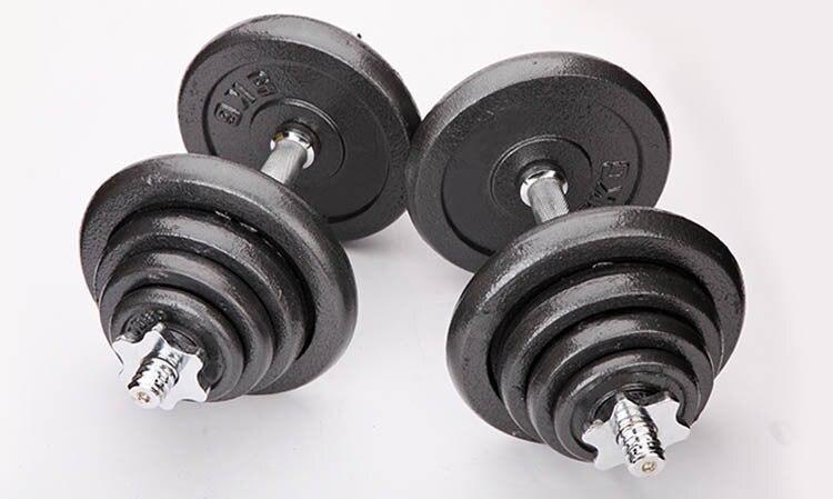 Haltères haltères 2 utilisation placage haltères 2 haltères + connecteur de vis de sécurité équipement de fitness avec tiges en plastique 15 kg - 4