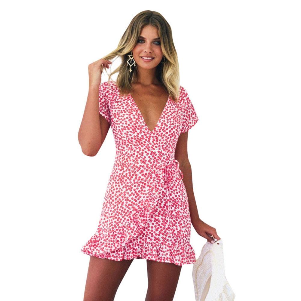 New Women Short Sleeve Wrap Dress Retro Floral Mini Dress ...