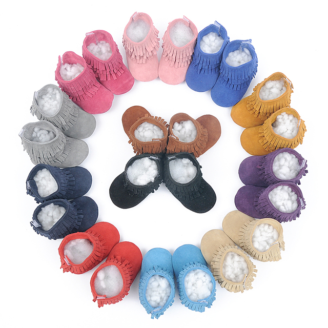 Genuine Leather suede Toddler Baby Moccasins layers tassel boots Baby soft Soled First Walkers Infant girl snow winter booties
