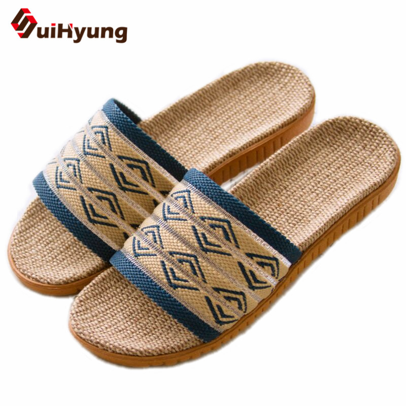 Suihyung 2018 New Men Summer Indoor Shoes Plus Size Linen Slippers Non-slip Beach Flip Flops Sandals Male Home  Bathroom SLIPPER fashion summer flat slippers female soft indoor slip resistant outsole flip sandals plus size beach shoes