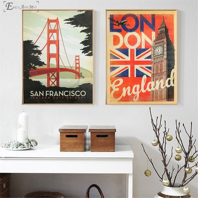Vintage Golden Gate Bridge London Posters and Prints Wall art ...