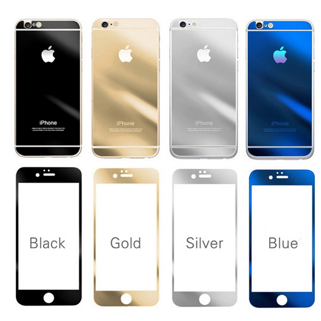 online store 19106 b2e69 US $13.98 |lot Luxury Front+Back Mirror Tempered Glass Protector for 6 6s  plus Screen Protector Color Plate Film for Iphone 6 4.7