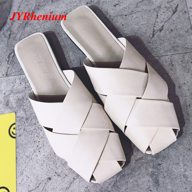 JYRhenium Leather Flat Slippers Winter Shoes Women Designers Loafers Slip On Fur Slides Mules Close Toe Lady Slides Loafers Big все цены