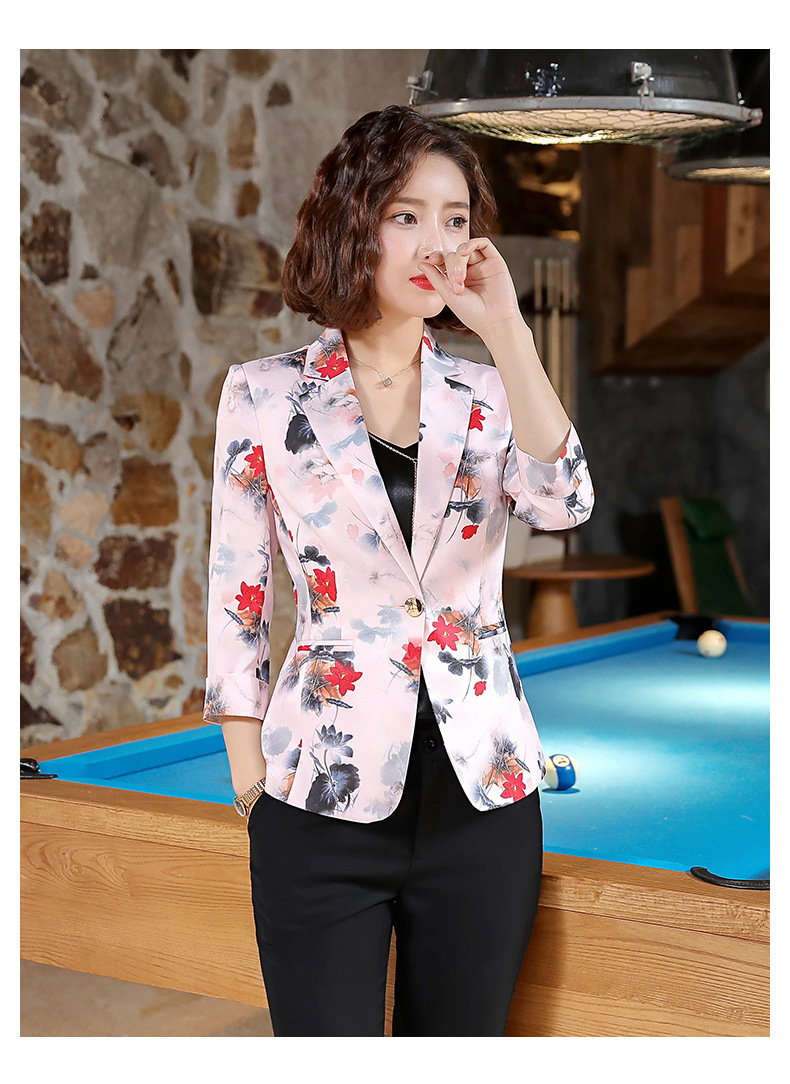 IZICFLY New Style Summer Formal Women Jacket Uniform Print Floral Business Veste Femme White Blazer Office Dress Suit Plus Size