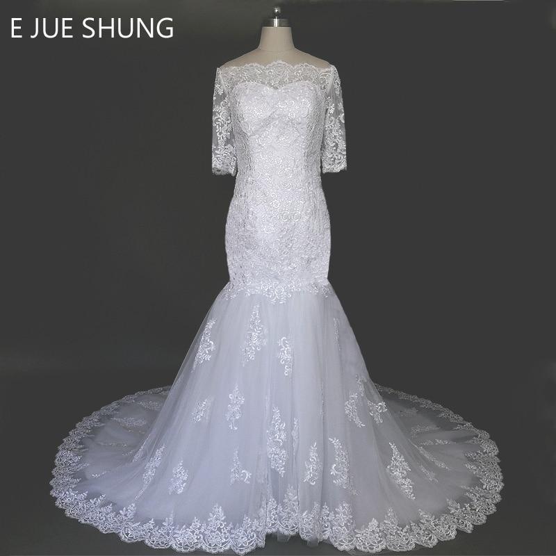 E JUE SHUNG Baltās Vintage mežģīņu aplikācijas no pleca Mermaid kāzu kleitas 2018 Pusi piedurknēm Long Train kāzu kleitas