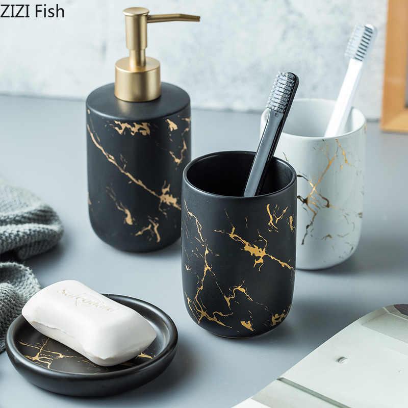 Ceramiczne imitacji marmuru zestaw akcesoriów łazienkowych do mycia narzędzi butelka płyn do płukania ust kubek mydła na szczoteczki do zębów artykuły gospodarstwa domowego