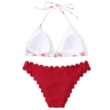 Newest Women Scalloped Floral Halter Bikini Set Triangle Bathing Suit