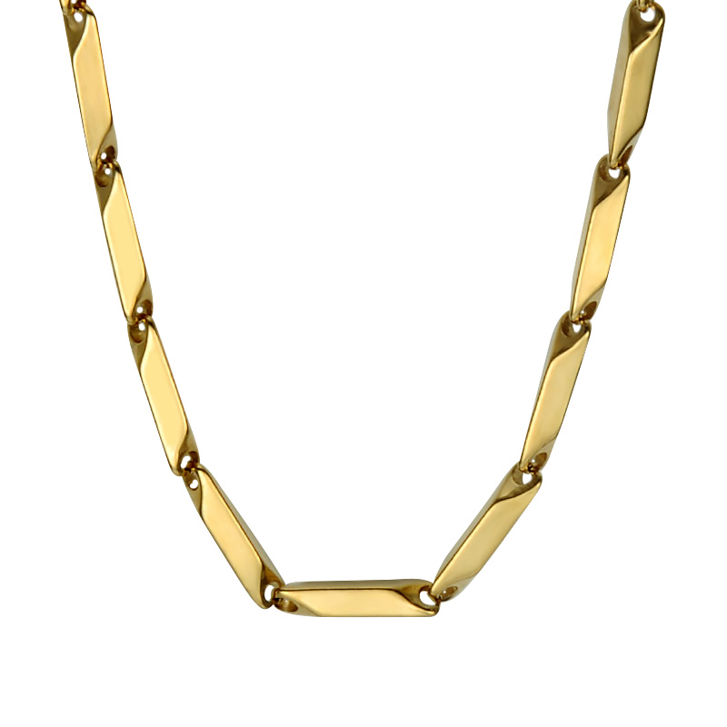 HIP High Polished Gold Color Titanium Stainless Steel Chain 55CM 3MM Thin Stick Aberdeen Chain Necklaces for Men Jewelry