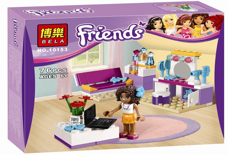 2016 new Friends series the Andreas Bedroom model Building Block Classic girl toys figures Compatible with Lepin 41009 lepin 22001 pirate ship imperial warships model building block briks toys gift 1717pcs compatible legoed 10210