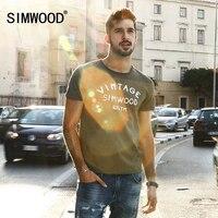 SIMWOOD 2017 Summer New T Shirt Men Slim Fit 100 Pure Cotton Vintage Letter Tops Plus