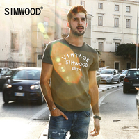 SIMWOOD 2017 Summer New T Shirt Men Slim Fit 100 Pure Cotton Vintage Letter Tops Plus