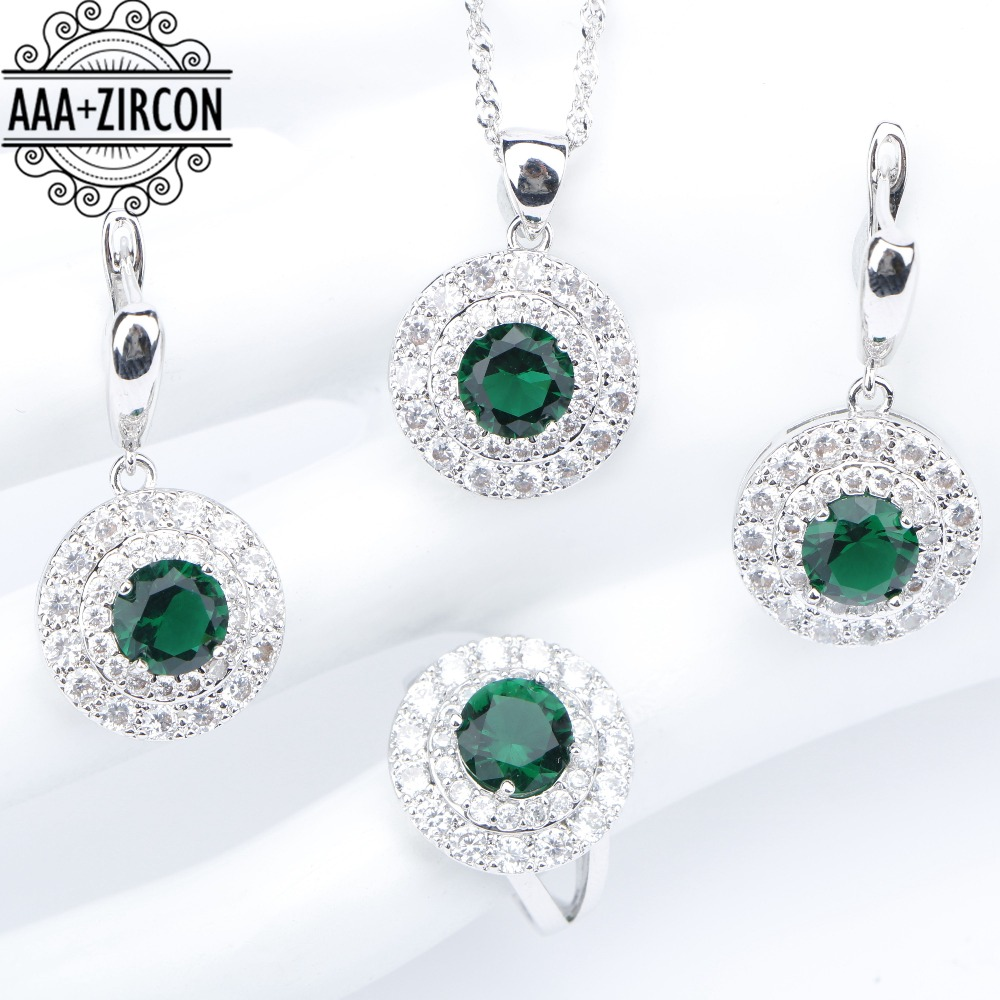 все цены на Round Silver 925 Costume Jewelry Sets Women Green Zircon Wedding Rings Necklaces&Pendants Earrings With Stones Set Gift Box