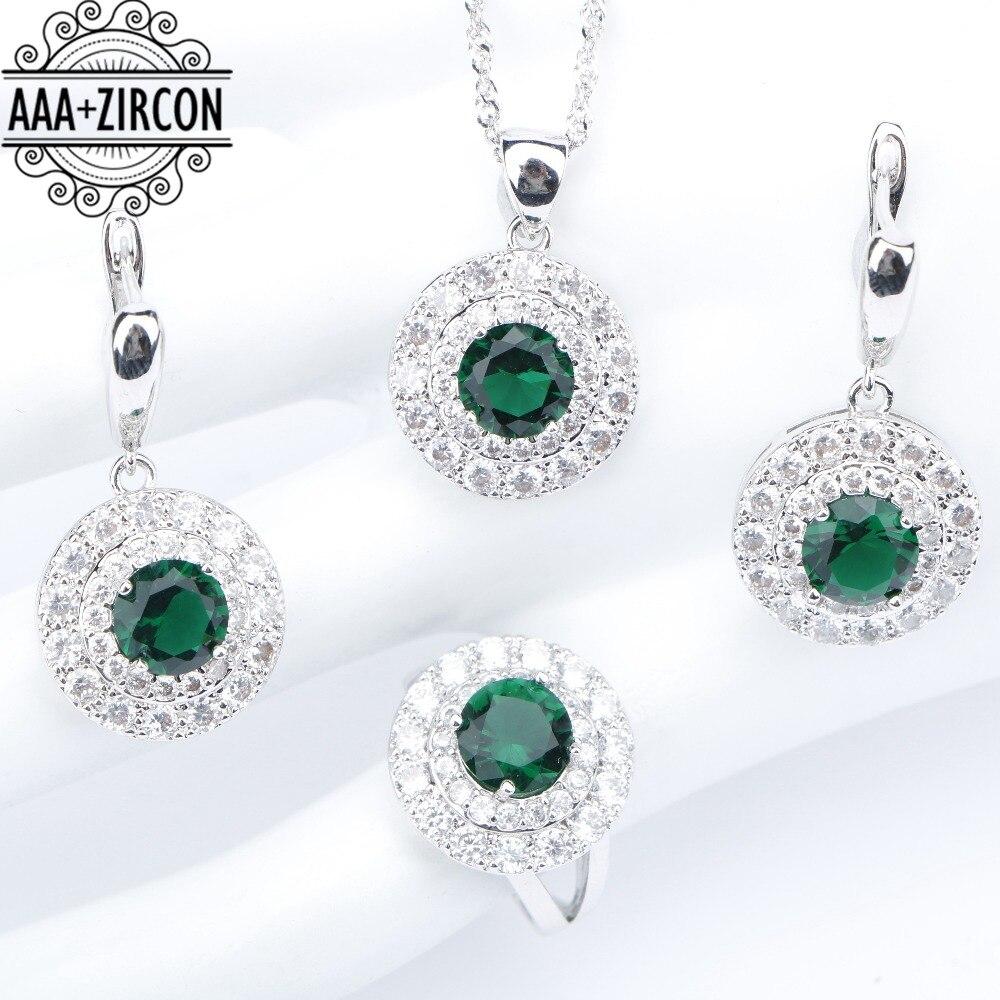 все цены на Round Silver 925 Costume Jewelry Sets Women Green Zircon Wedding Rings Necklaces&Pendants Earrings With Stones Set Gift Box
