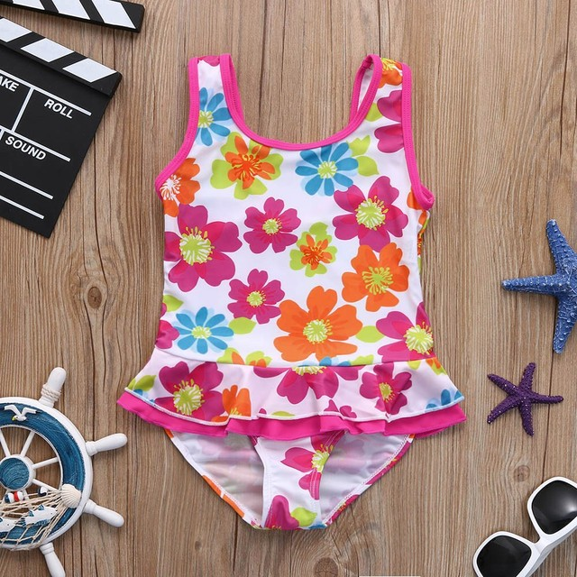 61d7c78df4aab baby girl swimwear Infant Kids Girls Flower Print Ruffles Swimsuits New  Summer One Piece Dress Bathing