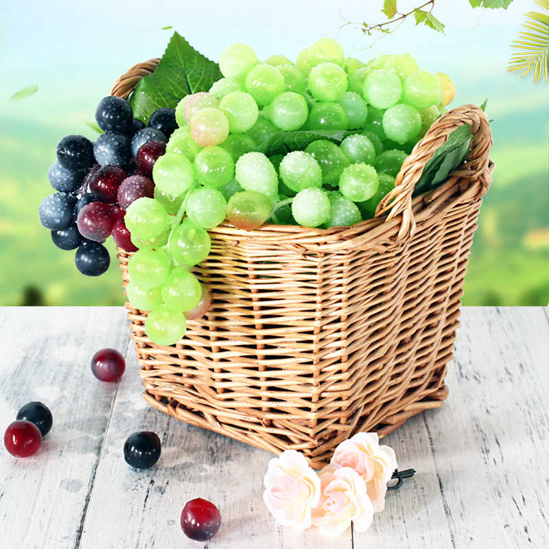 Sztuczne do zawieszenia winogrona DIY sztuczne owoce z tworzywa sztucznego sztuczne owoce dla dekoracja do przydomowego ogrodu boże narodzenie materiały na wesele