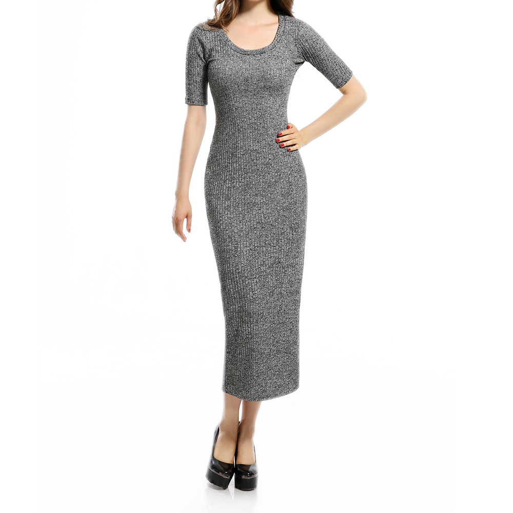 Preself Dresses Sexy Split O Neck Bodycon Bandge Knitted Solid Long Dress Vestidos Evening Party Women Lady Fashion Spring Gray вечернее платье the covenant of sexy goddess 2015 elie saab vestidos evening dresses
