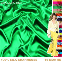 100% SILK CHARMEUSE SATIN 114cm width 16momme Pure Mulberry Silk Fabric/Factory Direct Wholesale 1meter Free Shipping 1-30