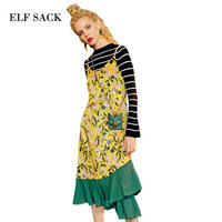 ELF SACK Women Velevt Floral Prints Long Dresses Newest Womens Mermaid Pleated Dress Tunic Party Elegant