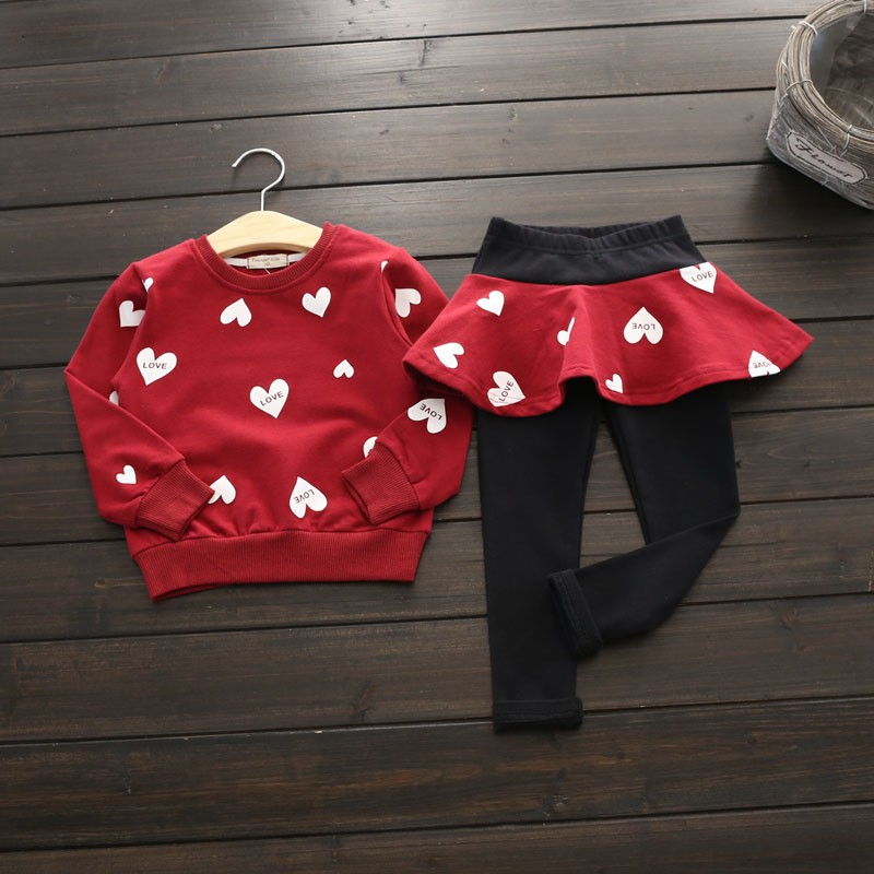 China Baby Girl Suit Autumn Cotton Heart patten Clothing Sets Heart t-Shirt+ Skirt Pants 2-7 Years 2Pcs/Set 3 Color 4th july patriotic rwb stripe heart skirt white top shirt girl clothing set 1 8y mapsa0624