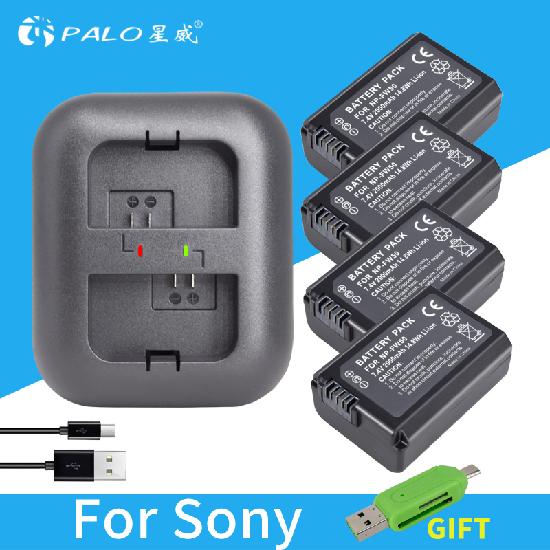 4pcs 2000mAh NP-FW50 NP FW50 Camera Battery + LED USB Dual Charger for Sony Alpha a6500 a6300 a6000 a5000 a3000 NEX-3 a7R kingma dual 2 channel np fw50 battery charger for sony a5000 a5100