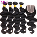 Peruvian Body Wave Hair With Closure Peruvian Human Hair 4 bundles With Closure Ali Moda Peruvian Virgin Hair With Lace Closure