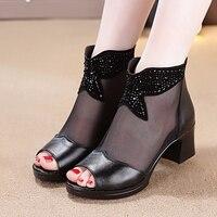 New Lace Women Platform Sandals Mesh Black High Heels Peep Toe Shoes