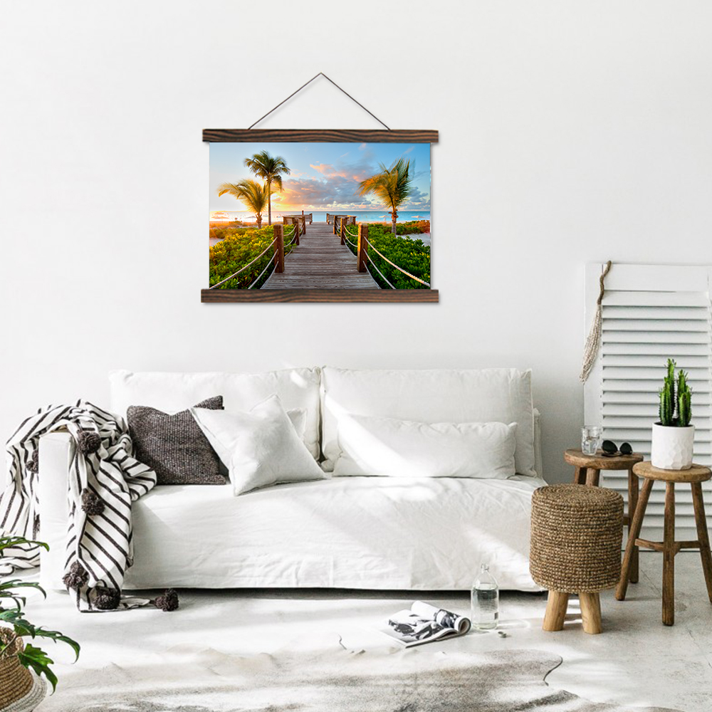 Modern Living In A Majorcan Paradise: Scroll Painting Modern Hanging Canvas Painting Artworks